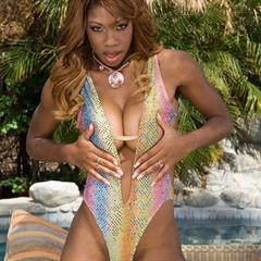 Jackie Brown glamourtryouts swimsuit ebony dildo busty toy