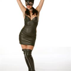 Katerina Nova Sue A virtuagirlhd VirtualGirl black boots dress cat woman superhero catwoman ears