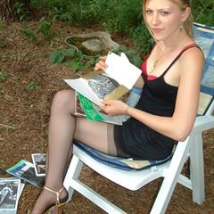 babes-in-nylons stockings outdoor nylons chair garment outside