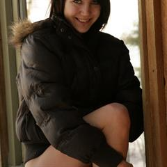 Andi Pink winter yourdailygirls bottomless outdoor shaved solo teen outside cold