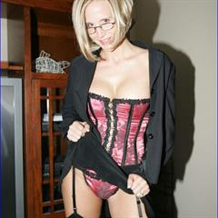 Desirae Spencer naughtyathome glasses mature corset garter shaved solo garment