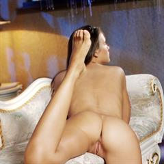 Chantelle brunette Anastasia Petrova Tony Murano black lingerie A plump pussy long hair met-art