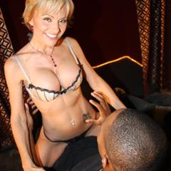 Hot cougar Cameron eating by two black cocks on couch