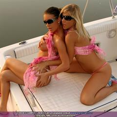 Tiffany Rousso Lora Craft sunglasses lesbians eveangel kissing 2 girls boat duo FF