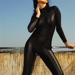 Sandra Shine crazyfetishworld black catsuit raven haired balcony spandex tattoo brunette