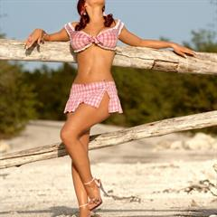 Bianca Beauchamp farmers daughter platform heels pink panties plaid skirt minidress top playmate pigtails canadian
