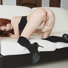 Michelle H Lean thick stockings totally shaved plump pussy long socks bottomless hair ugly sofa
