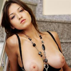 Sofia A black lingerie big naturals necklace brunette tits met-art stairs foxhq