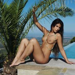 pierced pussy brainparking raven haired clit green eyes small tits palm tree brunette outdoor perky