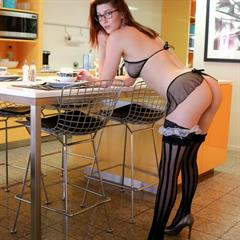 Amber Hahn french maid stockings brunette glasses shaved babe solo garment