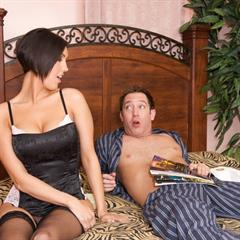 Dylan Ryder short hair black stockings pimproll hardcore silicone implants handjob morning