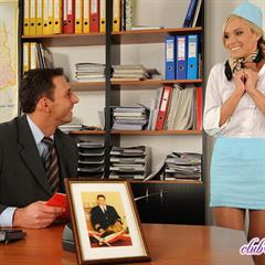 Jenny stewardess Club Sandy hardcore blowjob office shaved facial blonde desk