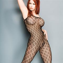 Bianca Beauchamp lace bodystocking black babeunion fake tits canadian implants big redhead