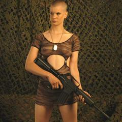 shaved head crocofetish plump pussy camouflage minidress pantyless military buzzcut dog tag fetish