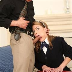 Elli Foxx leather flats nsgalleries schoolgirl hardcore blowjob facial