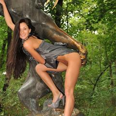 very long hair totally shaved bottomless eroberlin blue eyes brunette outdoor upskirt statue