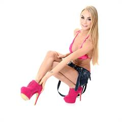 Nancy Ambrosia Y A platform high heels virtuagirlgirls jeans shorts ankle boots subirporno Jane F blonde