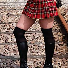 railway track train plaid skirt outdoor solo j3p railroad outside