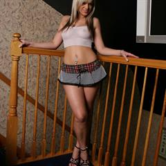 Ann Angel bustydigest fishnet top miniskirt anklets blonde solo