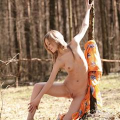 forrest Elle B lustyguide small tits met-art outdoor blonde posing forest young