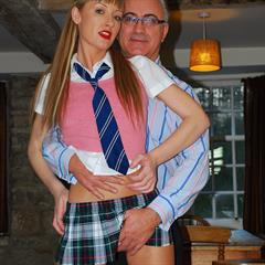 plaid skirt schoolgirl stockings payserve hardcore JimSlip upskirt shaved skinny blonde