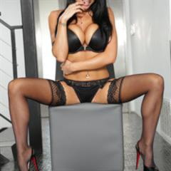 Romi Rain platform high heels black stockings lingerie raven haired thirdmovies eye contact red nails sole