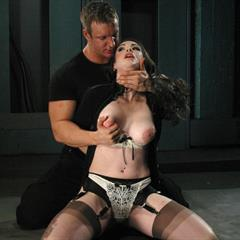 Natalie Minx fuckedandbound TJ cummings black dress bondage fetish BDSM garment tied
