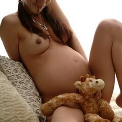 sweet amylee totally shaved preggolicious cuddly toy pigtails pregnant brunette tattoo