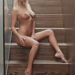 Natali Blond Emma A trimmed stairs blonde shaved x-art babe
