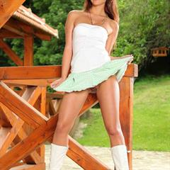 green checkered skirt brainparking white boots wooden deck brown eyes small tits pantyless brunette stubble shaved