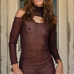 Eva Sheer Brigitte seethrough dress nextdoor-models cherrynudes pantyless nonnude xsmall nylons