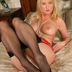 Daniella red lingerie plump pussy legaction stockings big tits redhead blonde garter mature