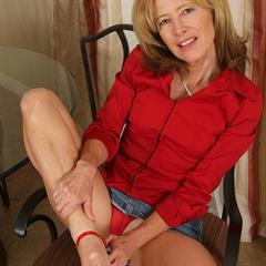 Janet L mature nipples wrinkled soles panties aside red lingerie allover30 sexy feet AllOver sandals