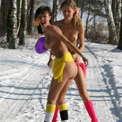 winter justteensite outdoor 2 girls naked socks snow cold teen veil
