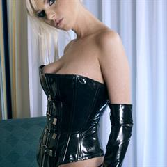 Giselle Monet platinum blonde viewpornstars plump pussy fetish corset shaved latex garment
