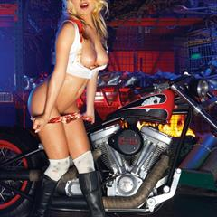 Sandy Summers Harley bustybeauties plump pussy motorbike stockings BTK boots squatting sexy pose brazilian