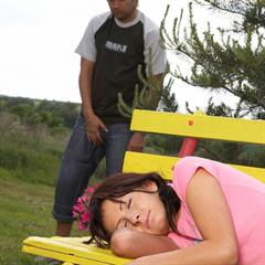 brunette hardcore blowjob outdoor outside bench sleep