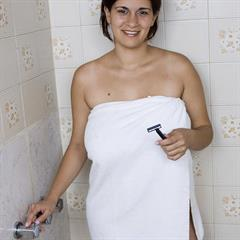Romina Lopez plumpstars big tits shaving hangers shower towel ugly aunt