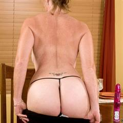 Samantha Stone black dress anilos mature tattoo thong garment