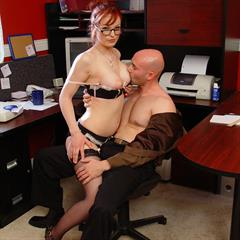 officegals stockings hardcore glasses redhead mature over30 office garment