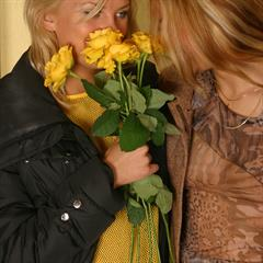 Cassandra Sandra Erin SapphicErotica yellow dress labatidora seethrough minidress lesbians necklace