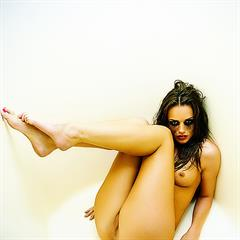 Tori Black white background erect nipples painted toes parted labia humiliation plump pussy thick hellporno brunette