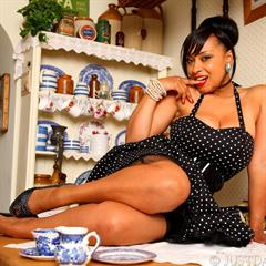 Danica Collins Tea black lingerie on the table justdanica cup of vintage mature cups