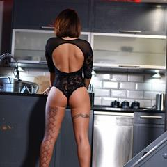 Gemma Massey lace bodysuit seethrough big tits implants brunette kitchen shaved foxhq