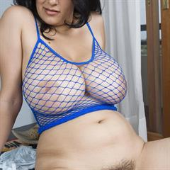 Romina Lopez bustyrominalopez blue fishnet top plumpstars voluptuous huge tits big brunette