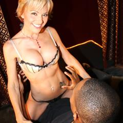 Hot cougar Cameron getting fucked by two black cocks