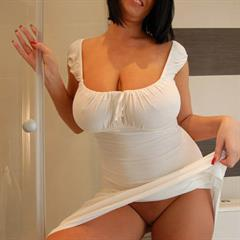 Latoya Roxx white dress wet clothes rubmyboobs short hair black seethrough huge tits pantyless showering