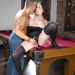 Gianna Michaels giannamichaelsnude pool table stockings rednails hardcore big tits natural
