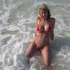 malibustrings red bikini fake tits vacation silicone implants holiday nonnude mature