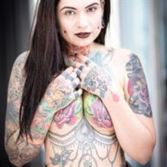 Jolenia heavily tattooed suicidegirlsnow pierced nipples stretched ears toxyfoxy tattoo